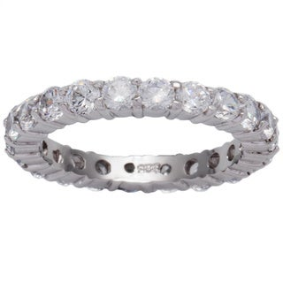 Kate Bissett Sterling Silver Stackable Cubic Zirconia Eternity Band - Clear/Silver