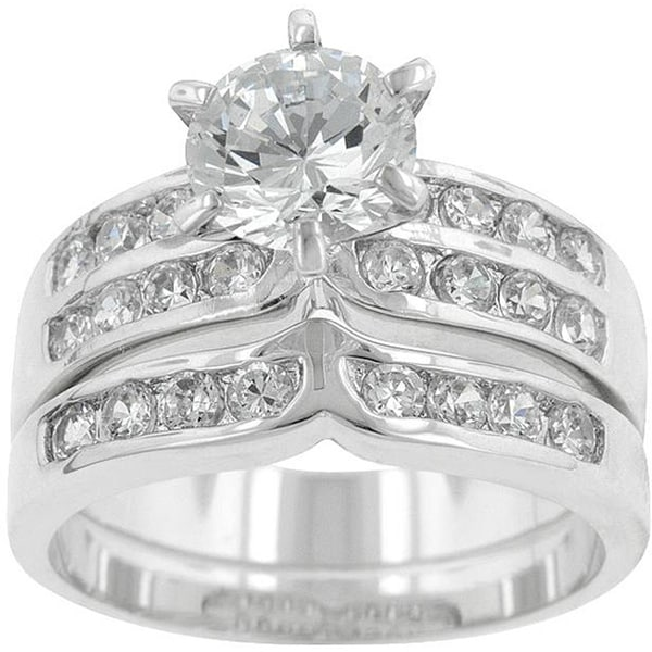 Kate Bissett Silvertone Cubic Zirconia Wedding Ring