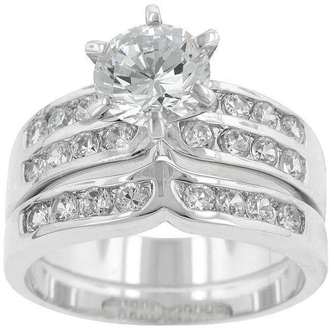 Kate Bissett Silvertone Cubic Zirconia Wedding Ring - Thumbnail 0
