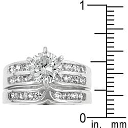 Kate Bissett Silvertone Cubic Zirconia Wedding Ring - Thumbnail 1