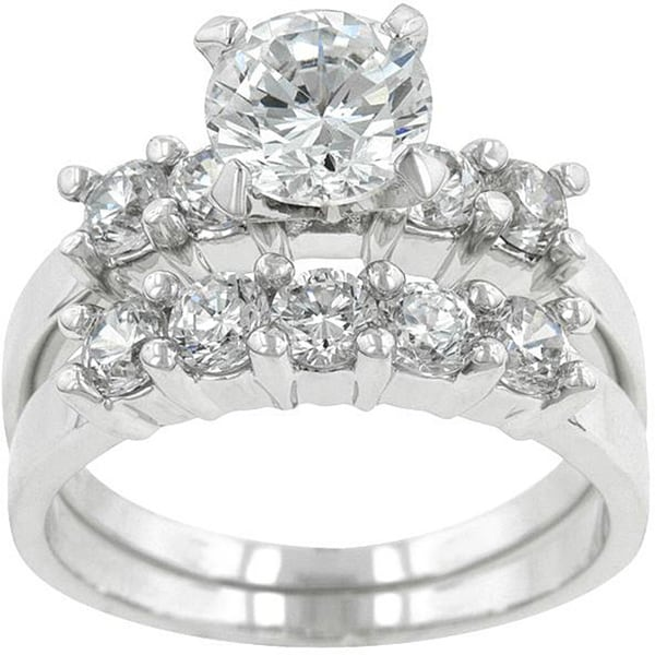 kate bissett silvertone brass round cut cubic zirconia wedding ring set - Cubic Zirconia Wedding Rings