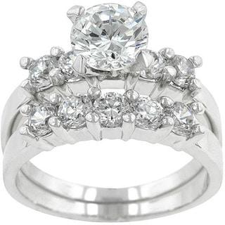 Kate Bissett Silvertone Brass Round-cut Cubic Zirconia Wedding Ring Set