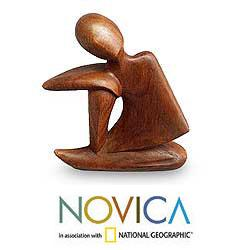 Wood 'Unwind' Sculpture, Handmade in Indonesia