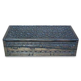 Handmade Ebony 'Lotus Bloom' Jewelry Box (Indonesia)