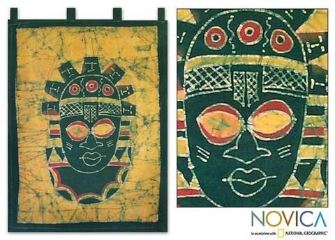 Cotton Batik 'Festac Mask' Wall Hanging (Ghana)