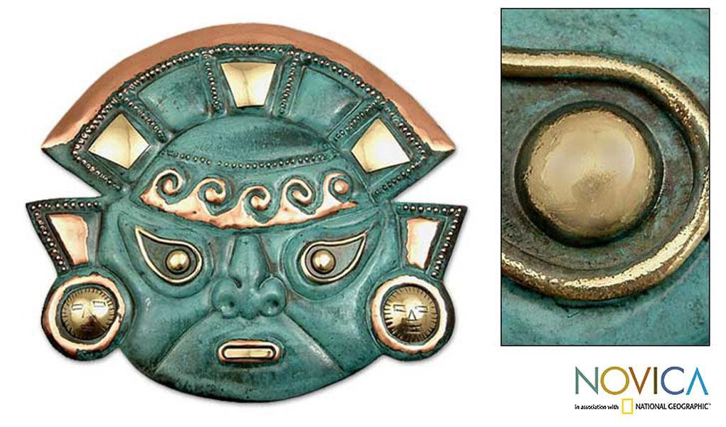 Handmade Copper 'Warrior's Courage' Mask (Peru)