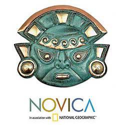 Handmade Copper 'Warrior's Courage' Mask (Peru) - Thumbnail 1