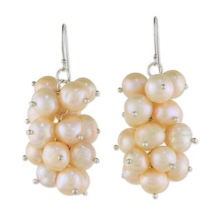 Handmade Sterling Silver 'River Grapes' Pearl Earrings (8 mm) (Thailand)