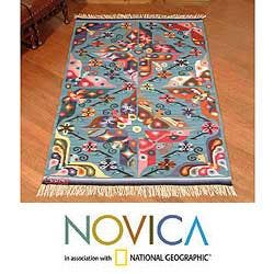 Peruvian Handwoven Garden Of Butterflies Blue Wool Rug 4