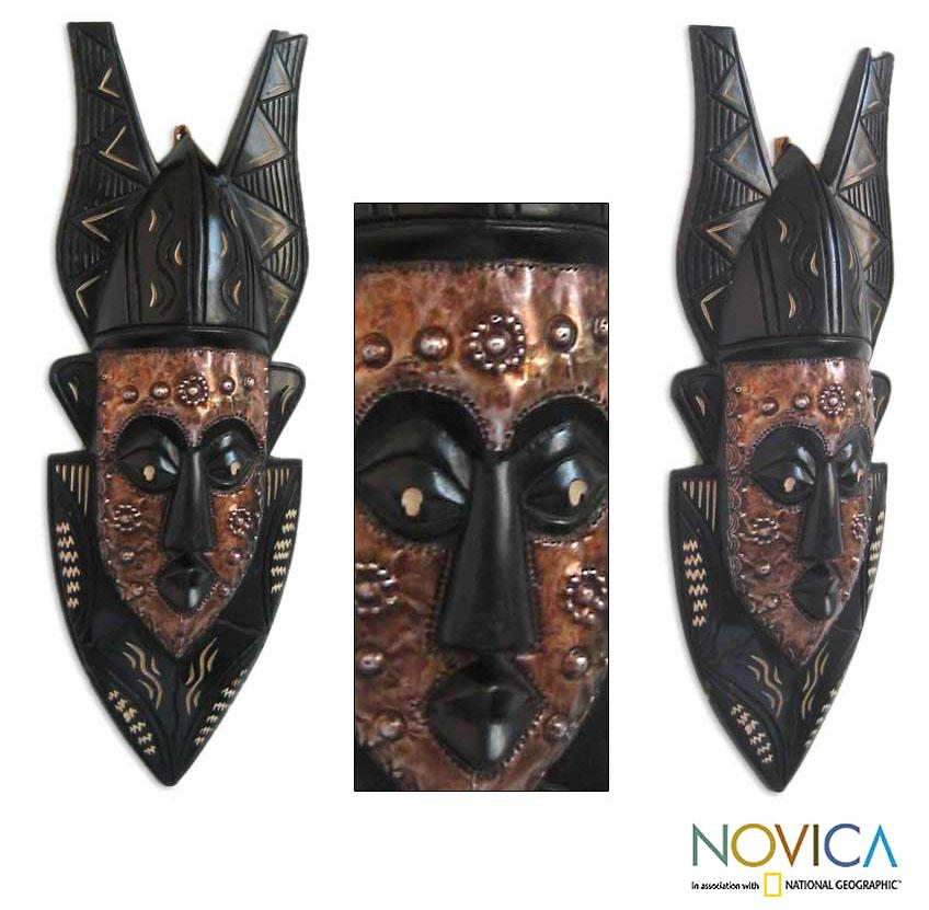 Handcrafted Wood 'Forgiveness' African Tribal Mask (Ghana)