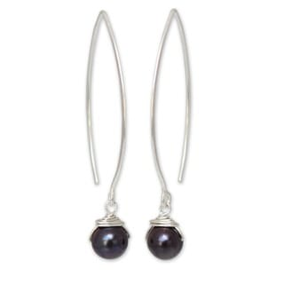 Sterling Silver 'Sublime Darkness' Pearl Earrings (8 mm) (Thailand)