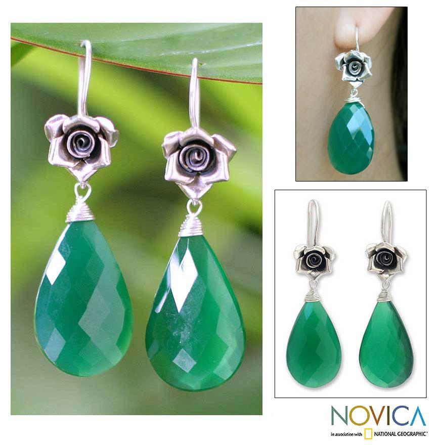 Silver 'Roses' Green Chalcedony Flower Earrings (Thailand)