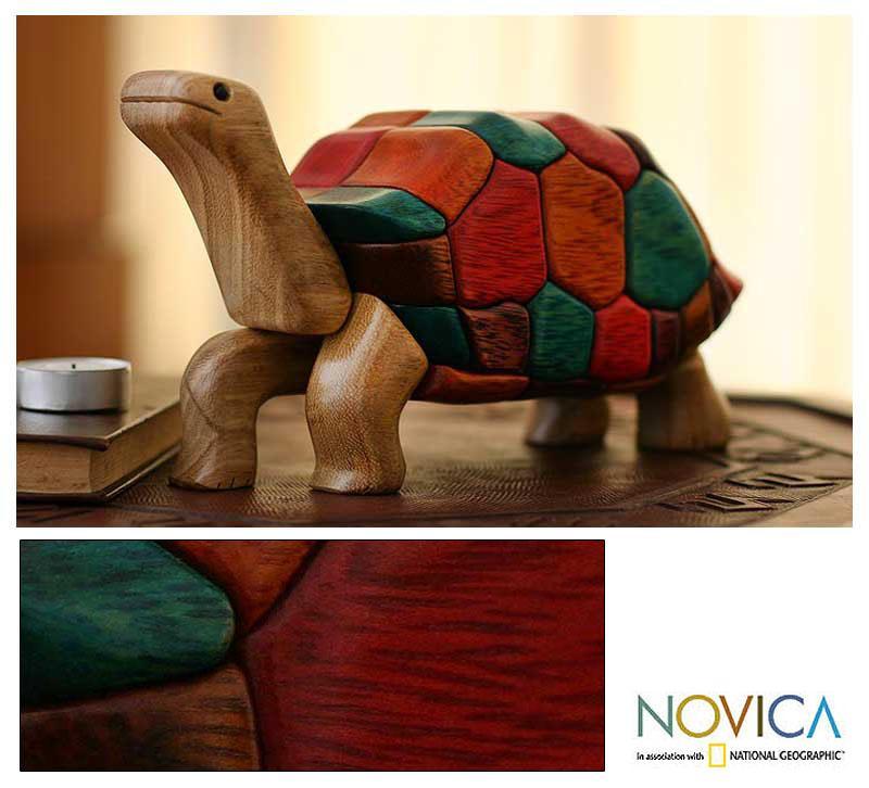 Handmade Ishpingo Wood 'Tortoise Voyage' Sculpture (Peru)