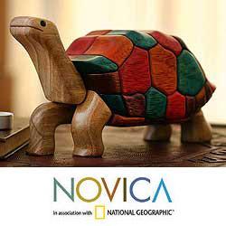 Ishpingo Wood 'Tortoise Voyage' Sculpture (Peru)