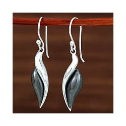Sterling Silver 'Sinuous' Drop Earrings (Mexico)