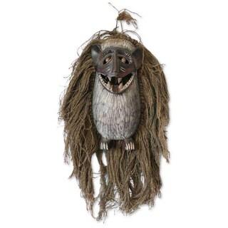 Wood and Jute 'Monkey Antics' African Tribal Mask (Ghana)