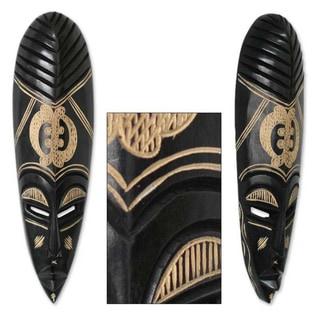 God is My Guide Adinkra Symbol Artwork Carved in Dark Brown Sese Wood Artisan Elongated African Tribal Wall Art Mask (Ghana)