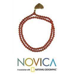 Handmade Carnelian 'Pray' Jap Mala Prayer Beads Necklace (India) - Thumbnail 1