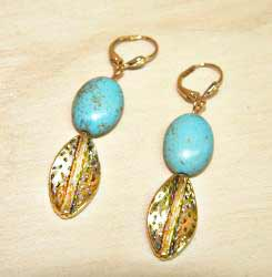 Susen Foster Goldplated Kingman Turquoise Earrings - Thumbnail 1