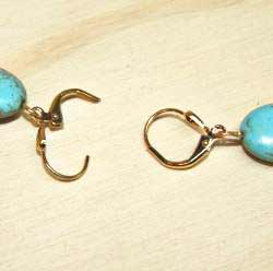Susen Foster Goldplated Kingman Turquoise Earrings - Thumbnail 2
