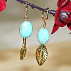Susen Foster Goldplated Kingman Turquoise Earrings