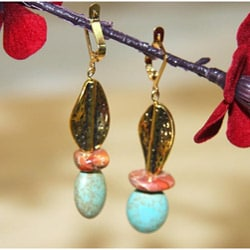 Susen Foster Goldplated Aladdin's Lamp Turpoise and Variscite Earrings