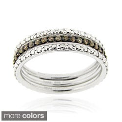 DB Designs Silver 2/5ct TDW Black or Brown Diamond Stackable Ring Set (Option: Brown)