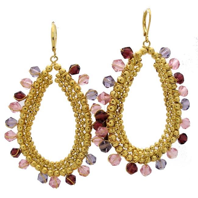 Brass and Purple Glass Beaded Earrings (India)