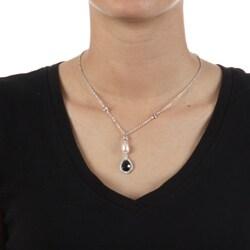La Preciosa Sterling Silver Pearl and Cubic Zirconia Necklace
