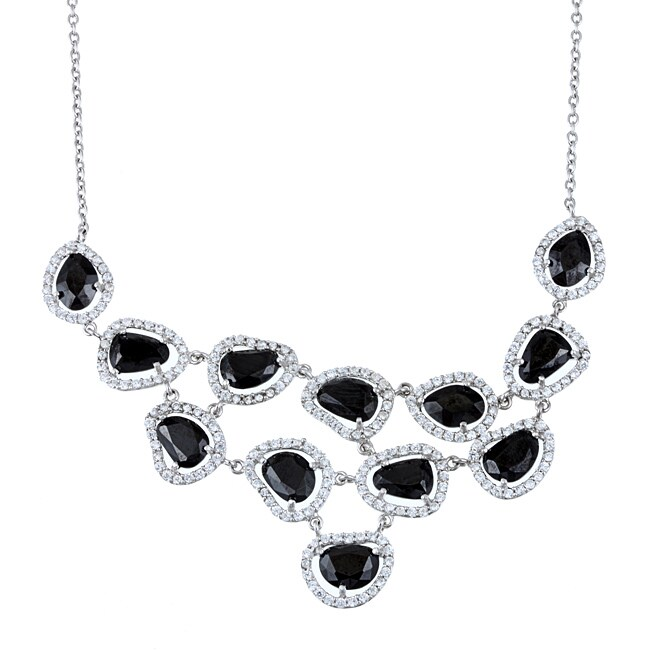 La Preciosa Sterling Silver Black and White Cubic Zirconia Bib Necklace