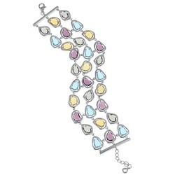 La Preciosa Sterling Silver Multi-Colored Cubic Zirconia Triple-strand Bracelet