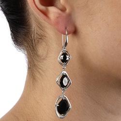 La Preciosa Sterling Silver Dangling Black CZ Earrings