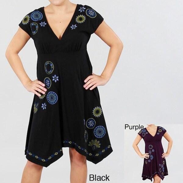 Antoinette C Women's Handkerchief Hem V-neck Dress