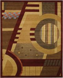 Hand-knotted Burgundy Mandara New Zealand Wool Rug (9' x 12')