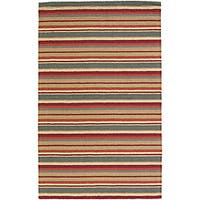 Artist's Loom Hand-tufted Casual Stripes Wool Rug - 7' x 10'