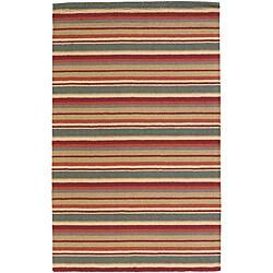 Artist's Loom Hand-tufted Casual Stripes Wool Rug (7'x10')