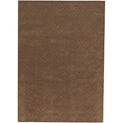 Hand-tufted Mandara Brown New Zealand Wool Rug (7' x 10') - Thumbnail 0