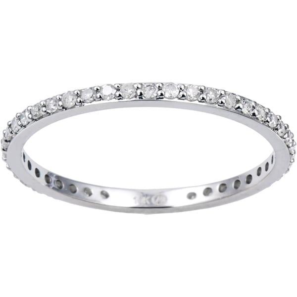 10k White Gold 1/3ct TDW Diamond Eternity Stackable Wedding Band