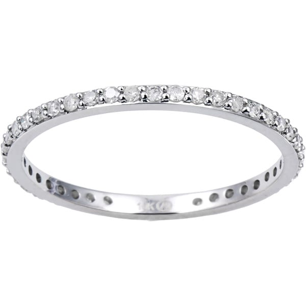 Beverly Hills Charm Classic 10K White Gold 1/3ct TDW Diamond Eternity Stackable Wedding Band