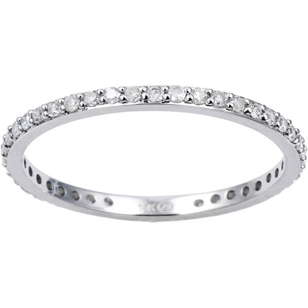 Classic 10k White Gold 1/3ct TDW Diamond Eternity Stackable Wedding Band