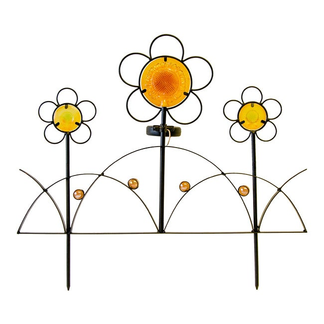 Tricod Solar Iron Flower Fence Light (Pack of 2)