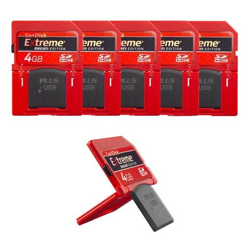SanDisk Extreme Ducati Edition 4GB SDHC Plus USB Memory Card (Pack of 5)