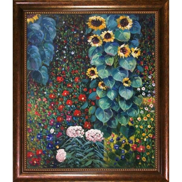 Gustav Klimt Farm Garden with Sunflowers Framed Hand Painted Canvas Art
