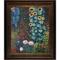 Gustav Klimt 'Farm Garden with Sunflowers' Framed Medium-Sized Canvas Art