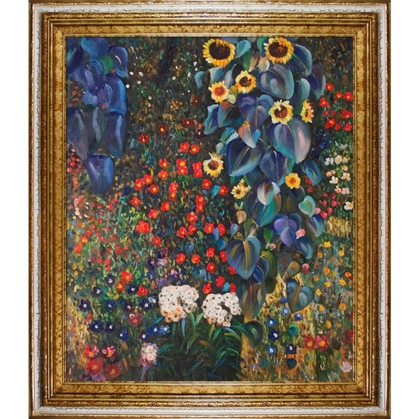 Gustav Klimt 'Farm Garden with Sunflowers' Framed Canvas Art