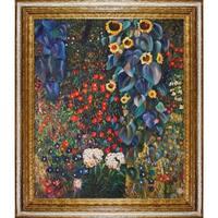 Gustav Klimt 'Farm Garden with Sunflowers' Framed Canvas Art