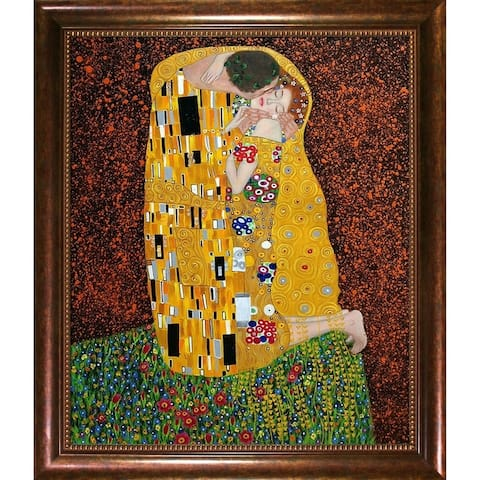 Gustav Klimt 'The Kiss (Full View)' Hand Painted Oil Reproduction