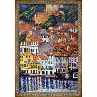 Gustav Klimt 'Malcesine on Lake Garda' with Aspen Frame Hand Painted Framed Canvas Art