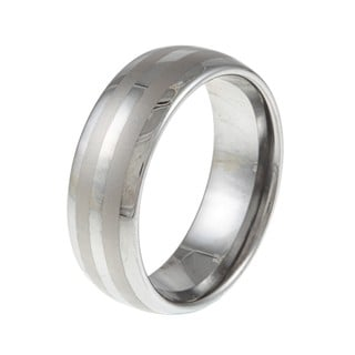 Men's Tungsten Polished Satin Striped Band (8 mm)