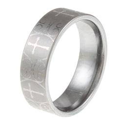 Men's Tungsten Laser-etched Cross Band (8 mm)